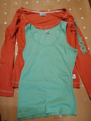 Kangaroos Maglione twin set arancione-verde chiaro
