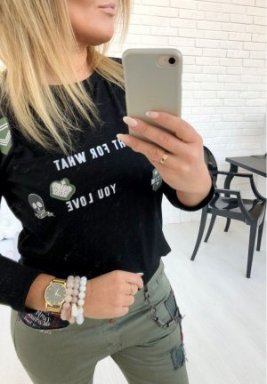 Langarm Shirt USA mit Patches + Totenkopf  Rockabilly Skull Blogger Sweater Pulli Pullover schwarz Military Tarn Biker Look passt bei S/M