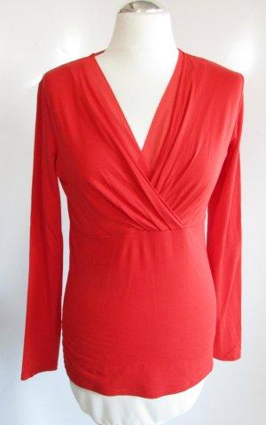 Langarm Shirt V-Neck Esprit Größe L 40 42 Jersey Tomaten Rot Viskose Sommer Pullover Pulli Chiffoneinsatz