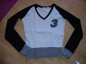 Langarm Shirt von Fishbone / New Yorker / Basic Only weiß / schwarz Größe: S