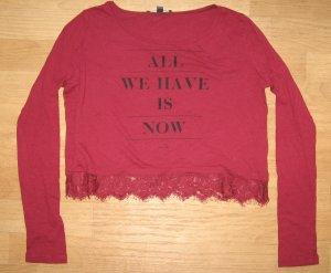 Langarm - Shirt von Tally Weijl, Gr. XS, weinrot mit Spitze