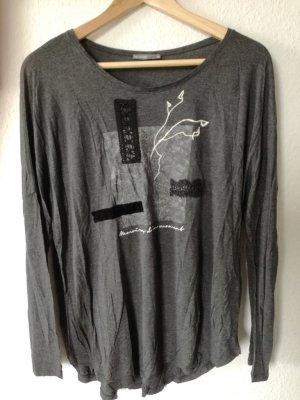 Langarm-Shirt von Zara, grau mit Applikation