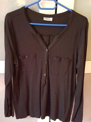 Giada Camisa larga negro tejido mezclado