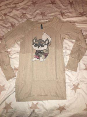 Langarm T-Shirt Blinddate beige in Größe L