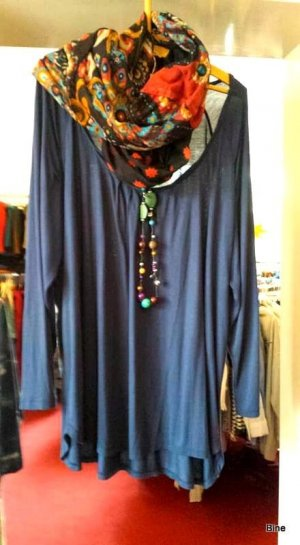 Bodysuit Blouse steel blue cotton