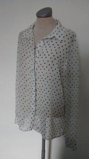 Langarmbluse Bluse weiß schwarz Gr. 40 Herzen neu