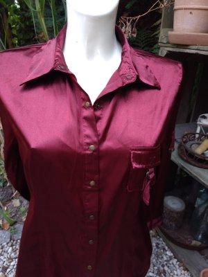 saix Glanzende blouse karmijn