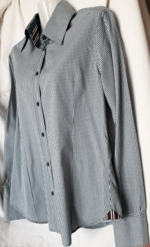 Langarmbluse/Hemd weiß-dunkelgrün aus Baumwolle Casual-Look