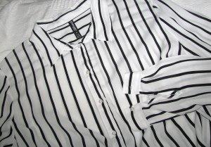 Langarmbluse/Hemd weiß-schwarz aus Viskose Streifenmuster Casual-Look, Maritime-Style