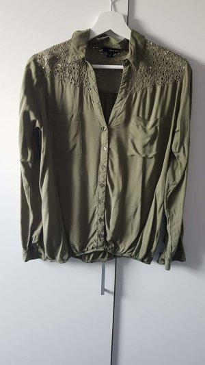 Langarmbluse khaki Gr. 40 von Tally Weijl