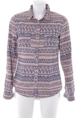 Camicia a maniche lunghe albicocca-blu scuro Motivo Azteco stile casual