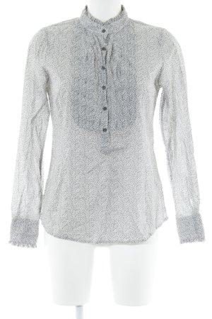Chemise à manches longues gris-blanc motif floral style romantique