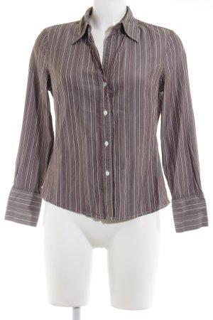 Shirt met lange mouwen grijs-bruin-wit gestreept patroon elegant