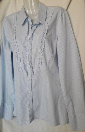 Langarmhemd hellblau-weiß Streifenmuster klassisch Landhaus Trachten Casual