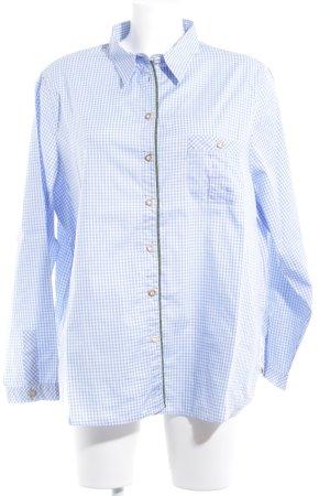 Camisa de manga larga azul celeste-blanco estampado a cuadros estilo clásico