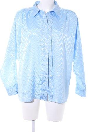 Langarmhemd himmelblau Zackenmuster Casual-Look
