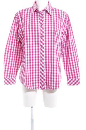 Camisa de manga larga rosa-blanco estampado a cuadros estilo clásico