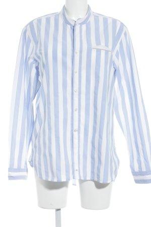 Chemise à manches longues blanc-bleu azur motif rayé Application de logo