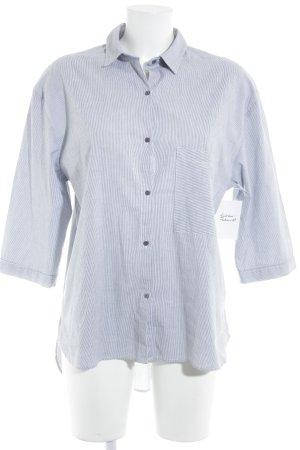 Langarmhemd weiß-stahlblau Streifenmuster Casual-Look