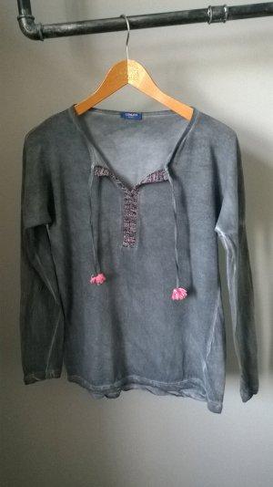 Camisa con cuello V gris oscuro-rosa Algodón