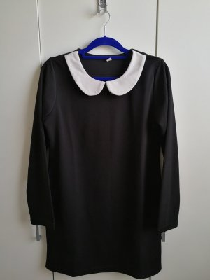 Robe à manches longues noir-blanc polyester
