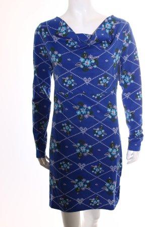 Langarmkleid blau florales Muster Casual-Look