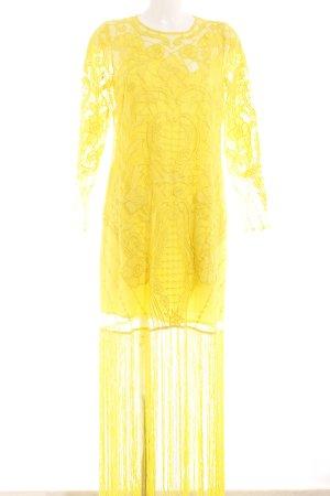 Langarmkleid gelb Spitzenbesatz