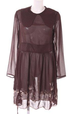 Longsleeve Dress light brown spot pattern casual look