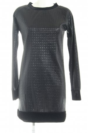 Langarmkleid taupe-schwarz Glanz-Optik