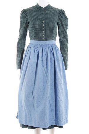 Langarmkleid waldgrün-neonblau abstrakter Druck extravaganter Stil