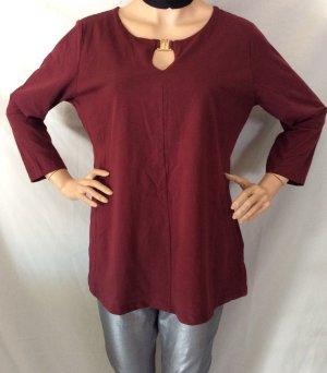 b.p.c. Bonprix Collection T-shirt col en V rouge carmin coton
