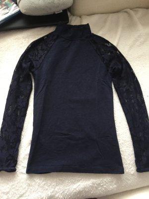 Langarmshirt dunkelblau mit Spitzendetail