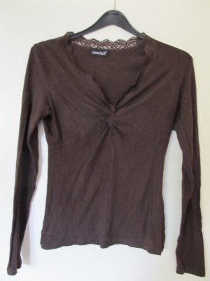 Laura Scott V-hals shirt zwart bruin