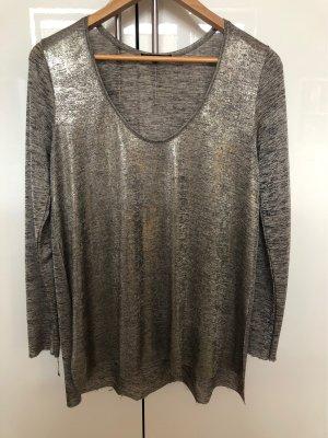 Zara T-shirt col en V gris anthracite-bronze