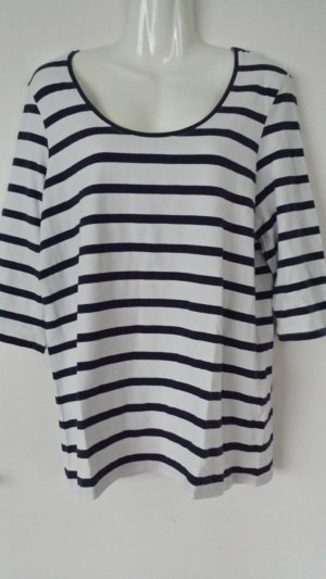 Basic Shirt wit-donkerblauw