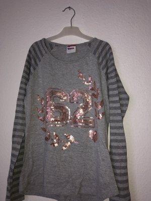 Camisa larga gris claro-color rosa dorado