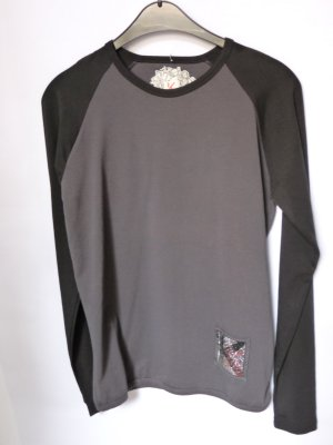Langarmshirt in Grau Schwarz Gr. XL Neu