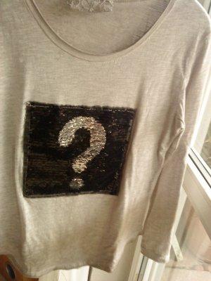 Langarmshirt in steinfarben mit Fragezeichen (Pailletten) made in Italy M