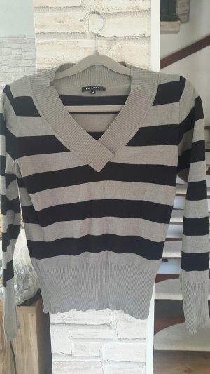 Langarmshirt Kenvelo gestreift schwarz grau V-Ausschnitt, Gr. M