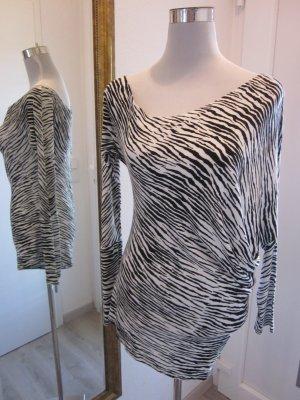 Langarmshirt leicht kann Schulterfrei getragen werden schwarz weiss Gr S