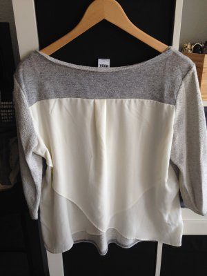 Langarmshirt Materialmix grau/weiß Gr. L