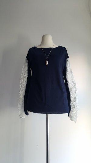 Camisa de ganchillo azul oscuro-blanco Algodón