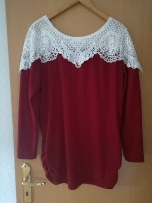 Long Sweater dark red-white