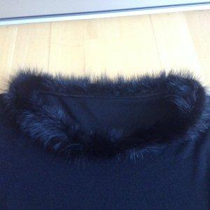 Langarmshirt mit kleinem Pelzkragen (Echtfell) Größe 36/38, schwarz