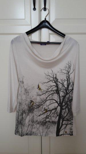Langarmshirt mit Print und leichtem Wasserfallkragen