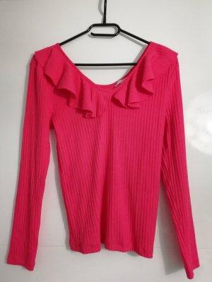 Clockhouse Camisa acanalada rojo frambuesa-rosa