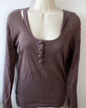 Langarmshirt mit Top in taupe