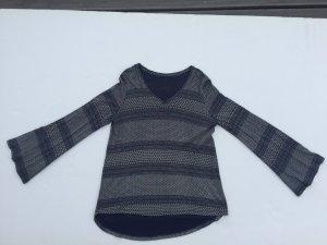V-Neck Shirt dark blue-white viscose