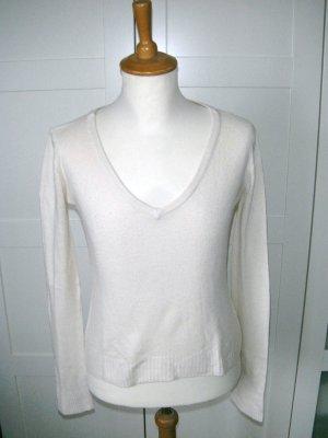 Langarmshirt mit V-Ausschnitt, creme, beige, Vero Moda, Gr. S