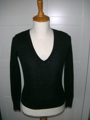 Langarmshirt mit V-Ausschnitt, schwarz, Vero Moda, Gr. S